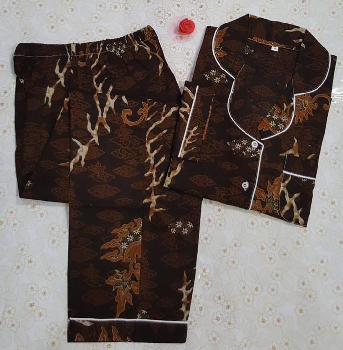 harga Baju tidur wanita batik modern 02 lengan panjang cln panjang coklat Tokopedia.com