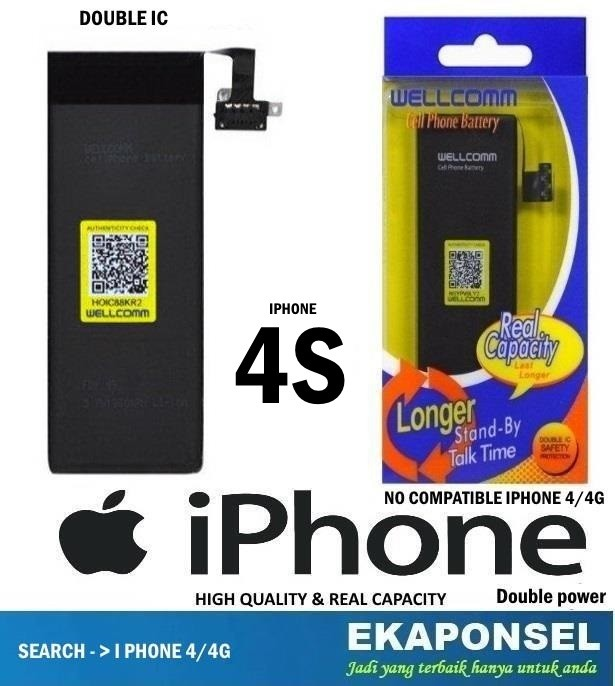 harga Iphone 4s battery wellcomm double ic & double power Tokopedia.com