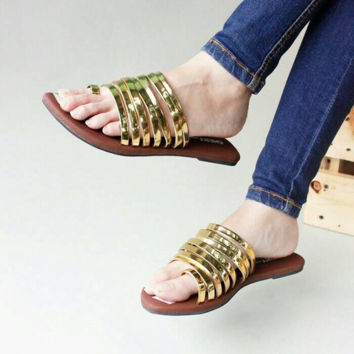 Sandal teplek ceper cewek wanita korea flat shoes modis casual murah