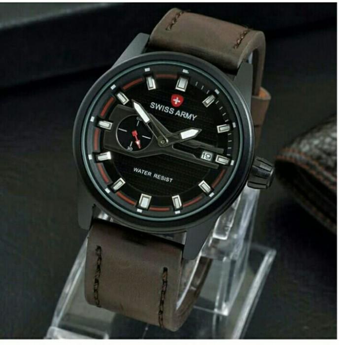 harga Swiss army jam tangan sport pria detik samping tanggal aktif leather Tokopedia.com