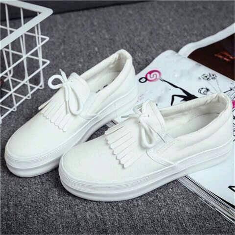 Sepatu flat shoes slip on cewek wanita korea poxing putih murah modis