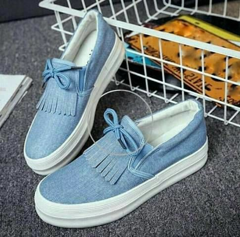 Sepatu flat shoes slip on cewe wanita denim jeans korea biru murah