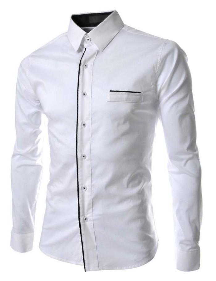 Jual Model Kemeja Pria Putih Polos Formal Casual Panjang Slim Distro