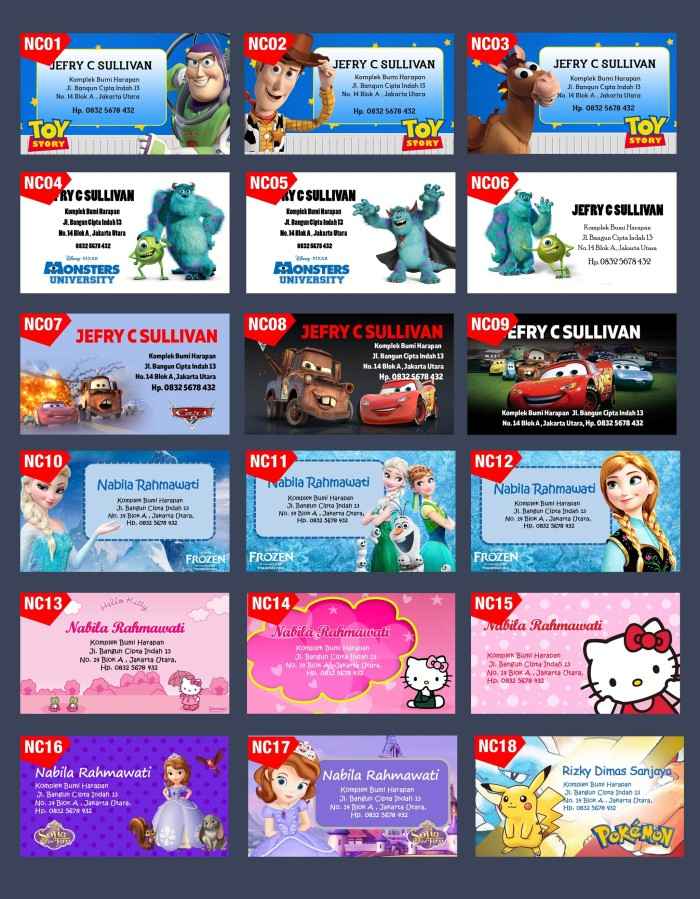 Hasil gambar untuk kartu nama anak