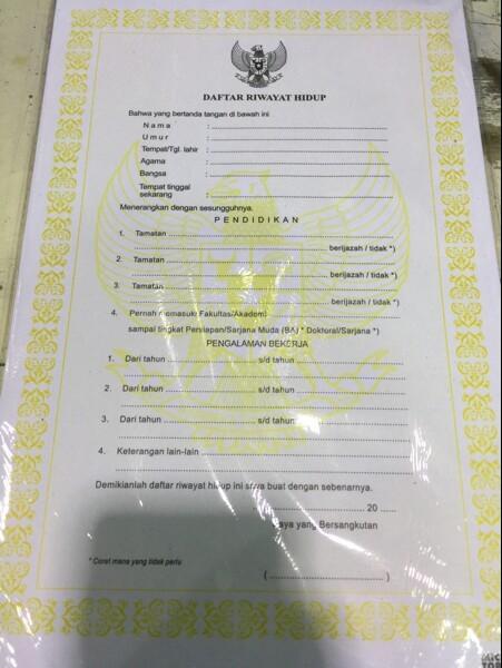 Jual Lembar Form Daftar Riwayat Hidup Cv Dki Jakarta Be Bears Tokopedia