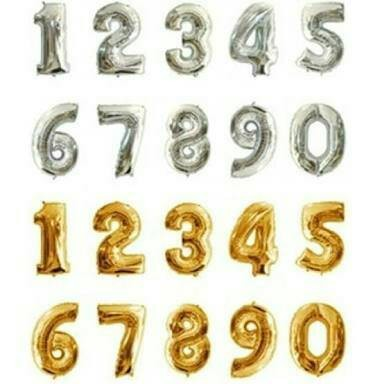 Foto Produk balon foil huruf angka gold silver dari QUEENCUPCAKESS