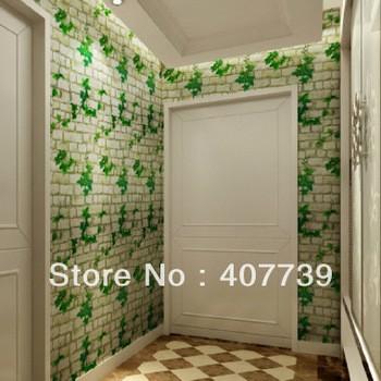 jual wallpaper sticker uk: 45cm x 10 batu bata putih motif daun