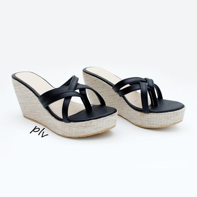 harga Sandal wanita wedges tali cy08 hitam Tokopedia.com
