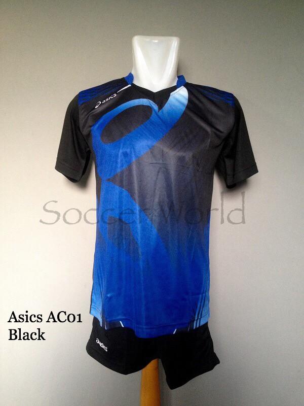 Jual Baju Kaos Olahraga Seragam Volley Setelan Voli Asics AC01 Black ... e07dedd4e3