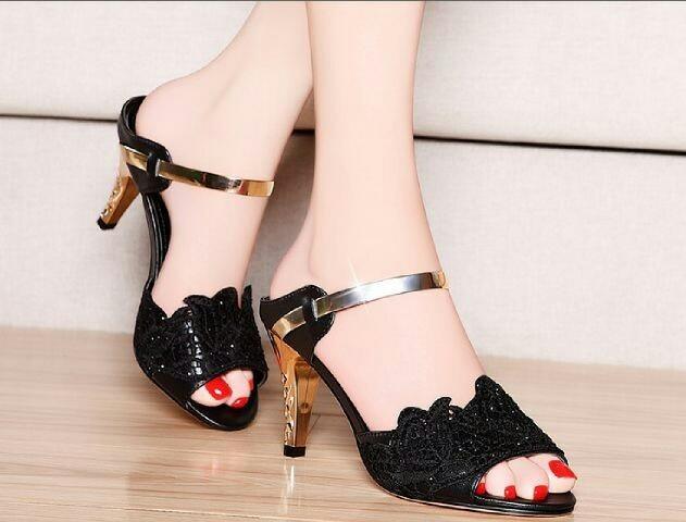 harga Sepatu sandal high heels wedges hitam 9 centi meter cm pesta Tokopedia.com