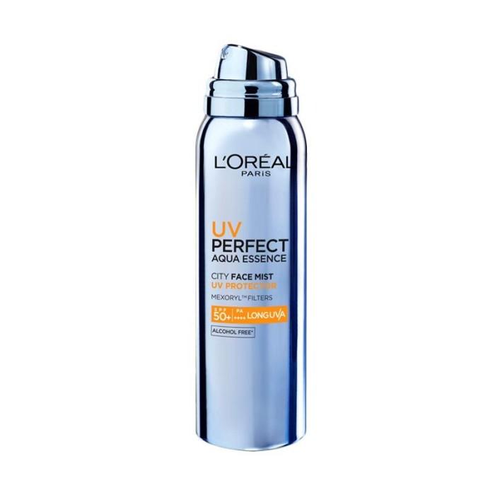 Sunblock loreal uv perfect aqua essence city spf 50 uv mist spray face
