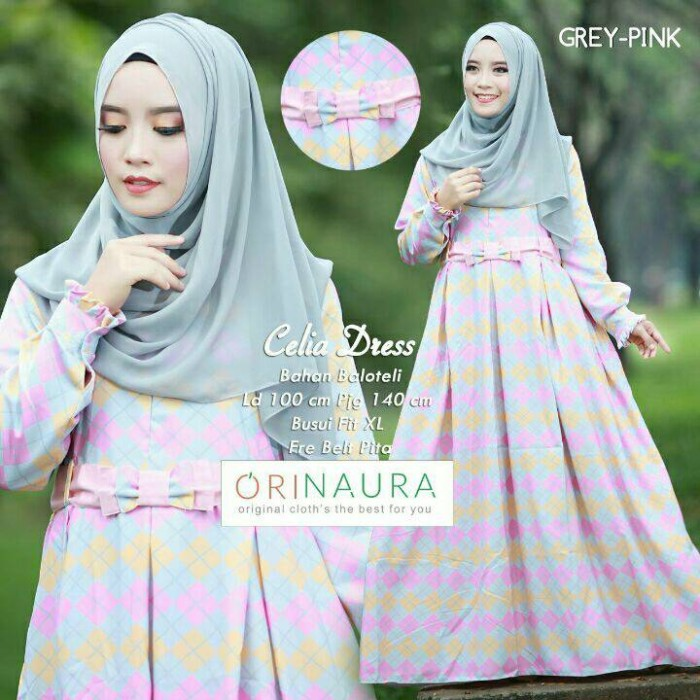 Jual Baju Muslim Dress Gamis Abaya Baloteli Motif Celia