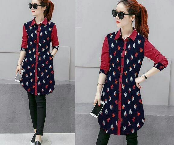 harga Tunik merah motif songket / kemeja wanita merah batik Tokopedia.com