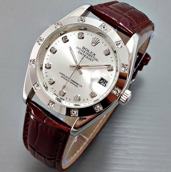 Jual jam tangan rolex datejust automatic kulit leather brown ring ... 108f5cdd82
