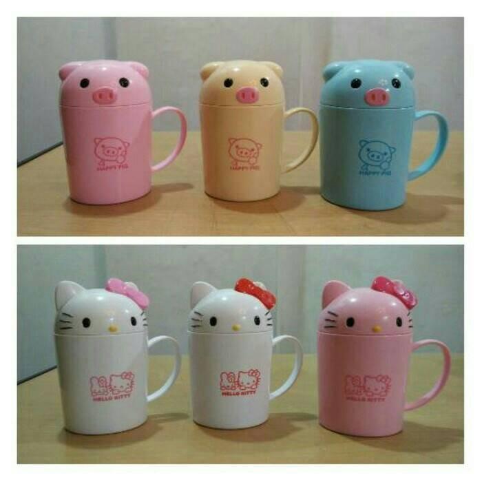 harga Mug gelas tutup karakter hello kitty doraemon rilakuma rabbit keroppi Tokopedia.com
