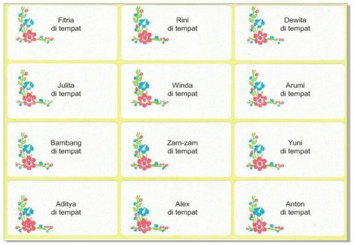 Jual Jasa Print Stiker Label Undangan Motif Bunga - ReLaTa