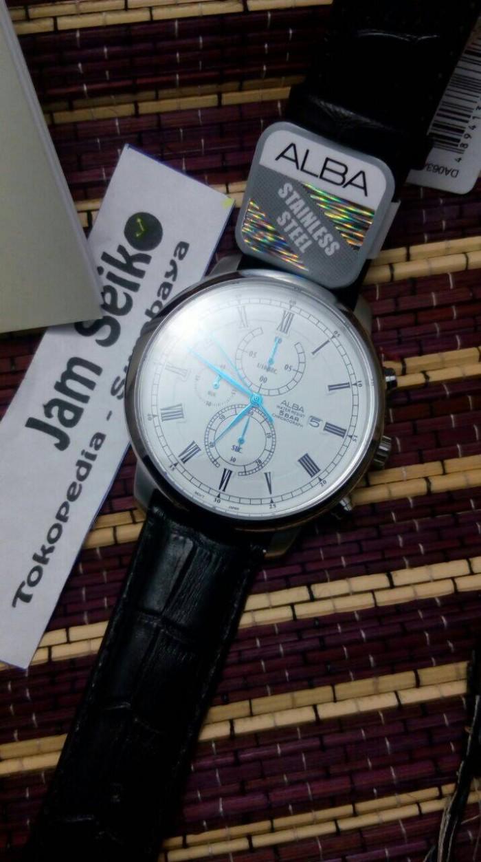 Alba Am3097x1 Chronograph Leather Strap Jam Pria Am3097 Update Balmer Sapphire D46h735bl7910mckts Tangan Coklat Men White Dial Black