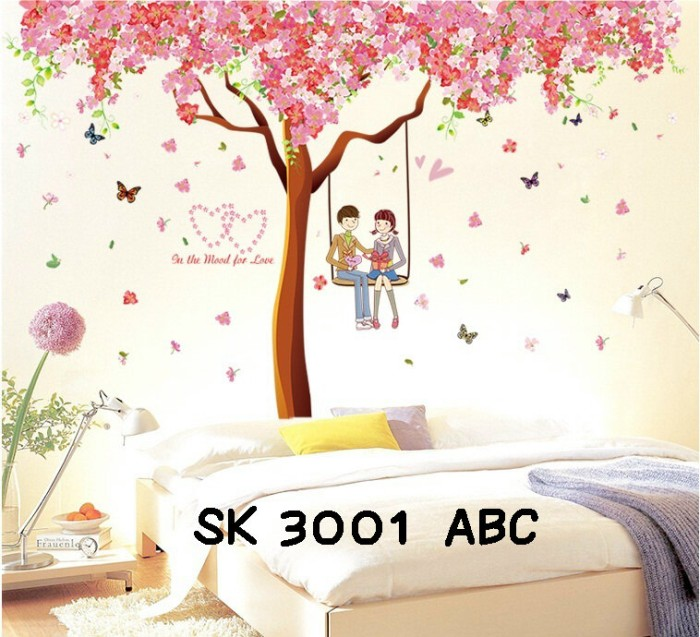 jual wall stiker uk.3x60x90 wall sticker dinding pohon sakura mood