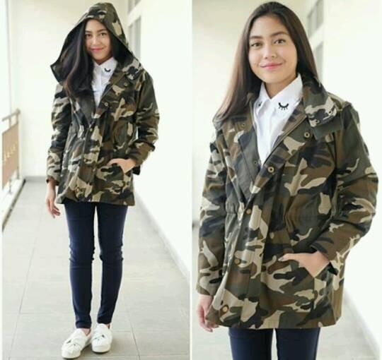 Jual jaket parka army hoodie cewek - key s clothing  0da2aee574
