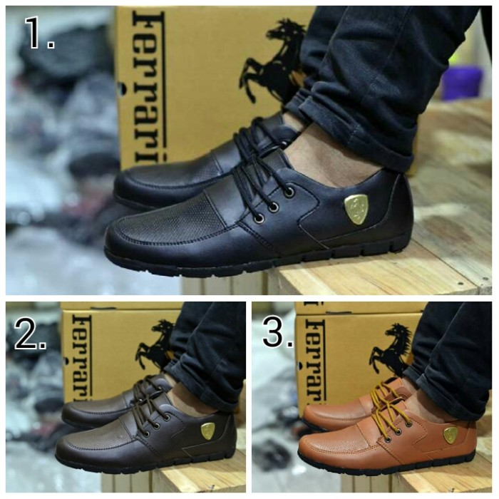 harga Sepatu casual tali keren ferrari leather semi licin (3 model warna) Tokopedia.com