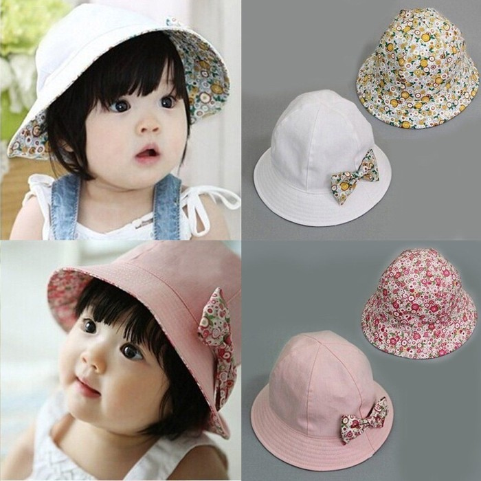 0a6d7dfc15a Topi Anak  Sun Hat  Bucket Hat  Topi Bucket Bayi  Baby Hat  Baby Girls