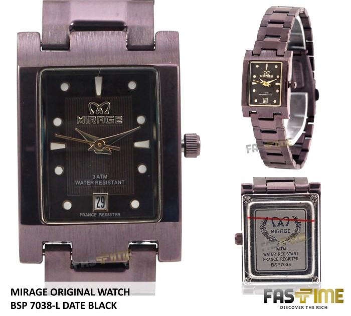 Jam Tangan Wanita Japan Technology MIRAGE Original 7038 BSP-L Black