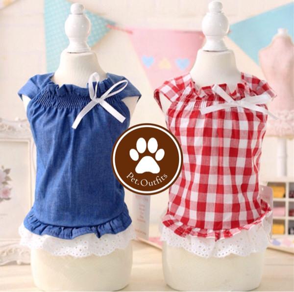 Baju Dress Pita Anjing Kucing Kelinci Hewan Biru Merah Kotak Katun