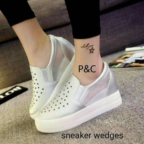 harga Sepatu slip on wedges sneaker murah pc Tokopedia.com