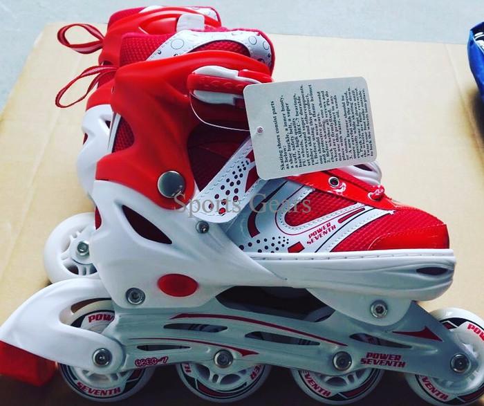 Jual sepatu roda  inline skate MERAH JAHIT PAKET HELM DAN DEKKER ... f53467bb76