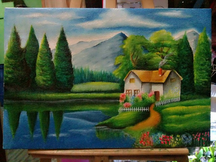 Jual Lukisan Pemandangan Hutan Pinus Kota Bandung Wd Muslimah