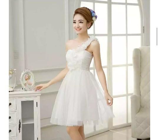 Jual Dress Wanita Satin Tile Gaun Pesta Putih Import Party Dress