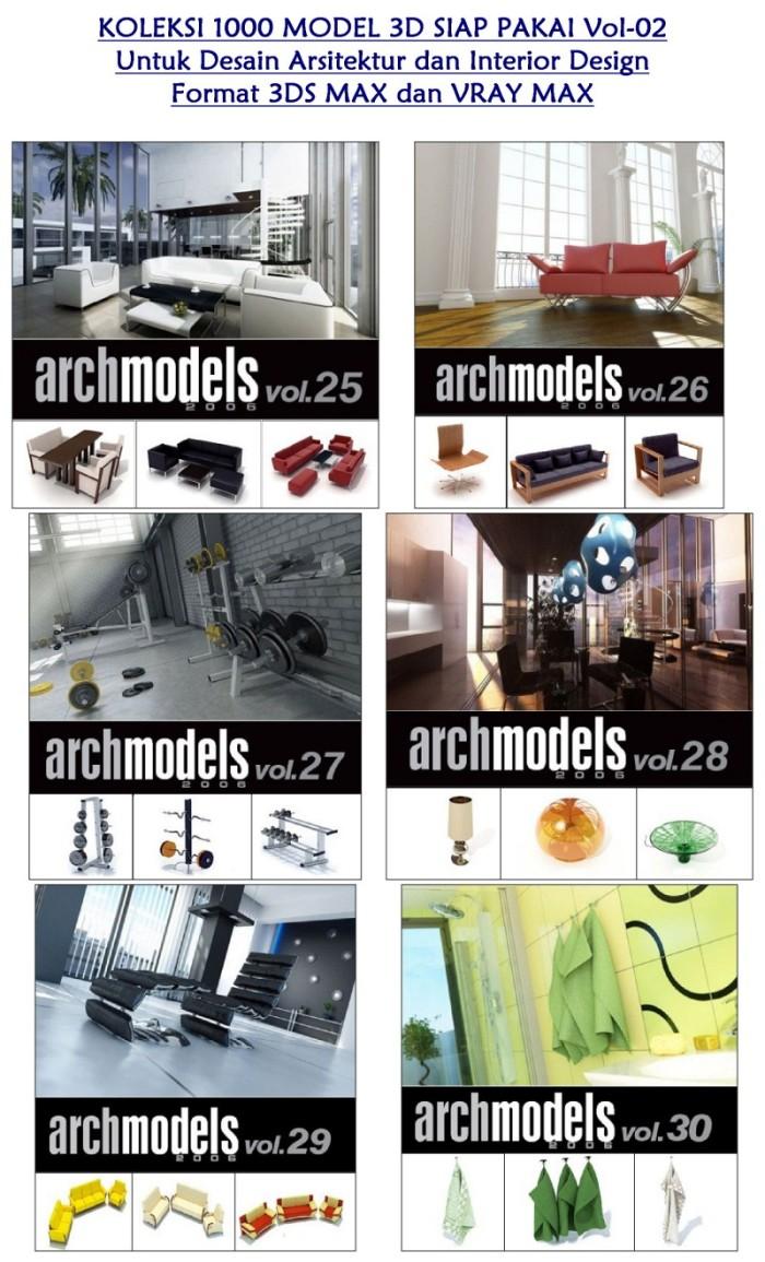 Jual Koleksi 1000 Model 3D Siap Pakai Untuk Desain Arsitektur Dan Interior Design VOL 2 Format 3DS MAX Dan VRAY MAX 1 DVD Kota Medan Golden