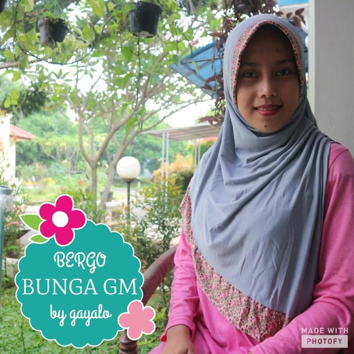 Bergo bunga gm/bergo simple/jilbab instan/jilbab syari/jilbab motif