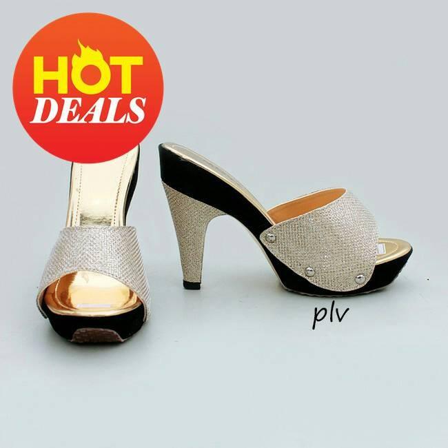 Sepatu wanita murah - sandal heels selop glitter gold ...