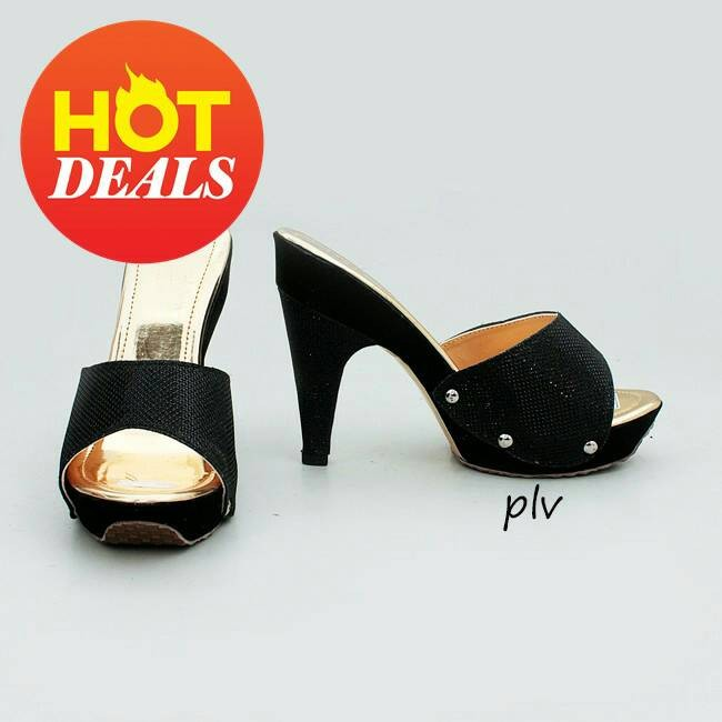harga Sepatu wanita murah - sandal wedges selop glitter hitam Tokopedia.com
