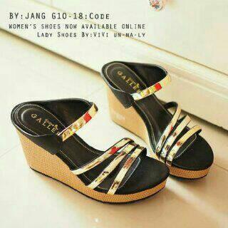 harga Sepatu wanita murah - sandal wedges hitam ban 3 milenium gold Tokopedia.com