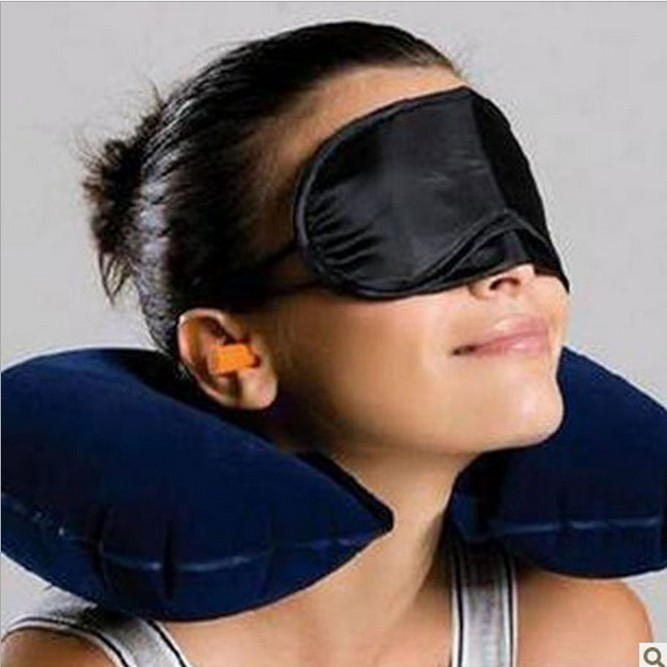 harga Travel pillow bantal leher udara penutup mata telinga untuk jalan 1set Tokopedia.com