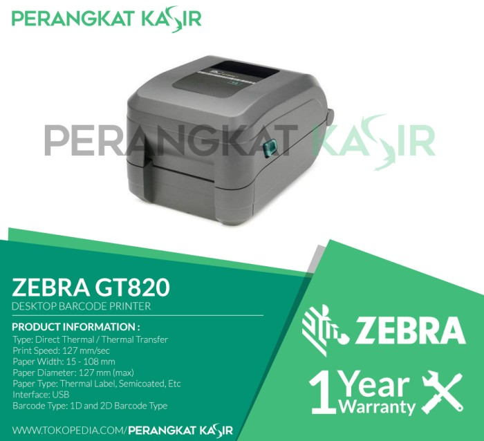 harga Printer barcode thermal transfer label zebra gt820 / gt 820 Tokopedia.com