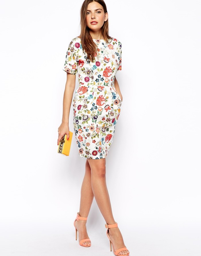 White Floral Shift Dress / Casual Dress Import / Dress Bunga WST 8845