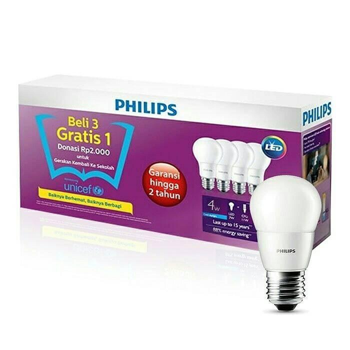 Lampu LED Philips Bulb 4 watt PUTIH / WHITE (Paket 4 pcs)