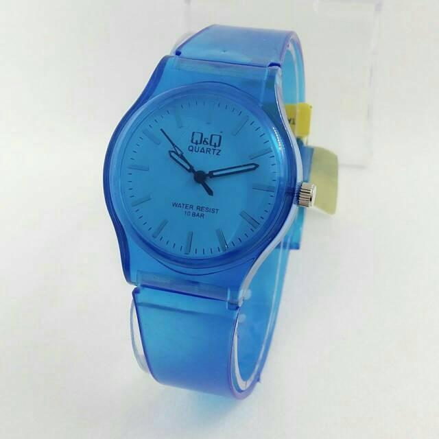 Q&Q W1 1 BIRU Jam tangan wanita rubber strap obral murah .