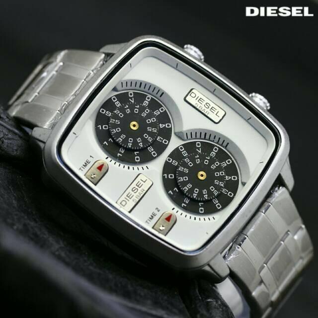 Jual Jam Tangan Pria Cowok Merk Diesel Rantai Silver Dual time Sport ... a125d3162a