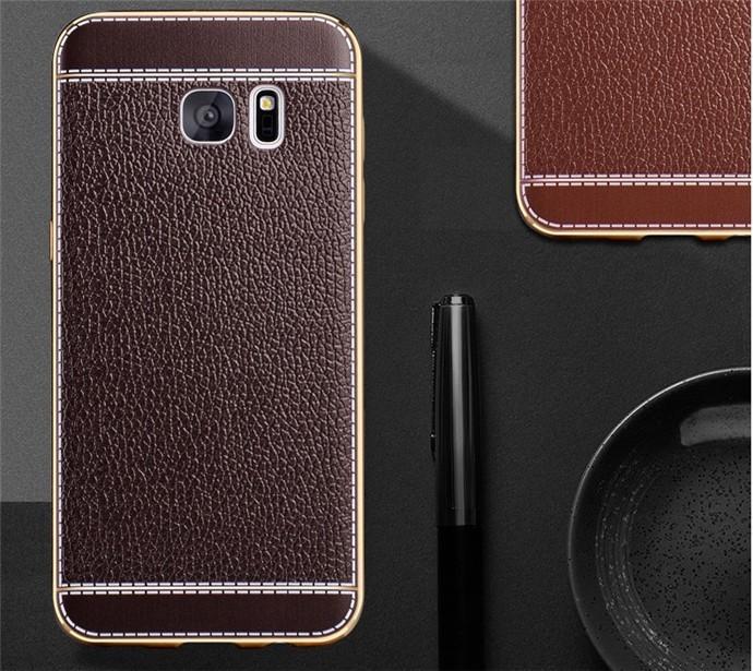 harga Hard soft back cover leather chrome samsung galaxy s7 edge casing case Tokopedia.com