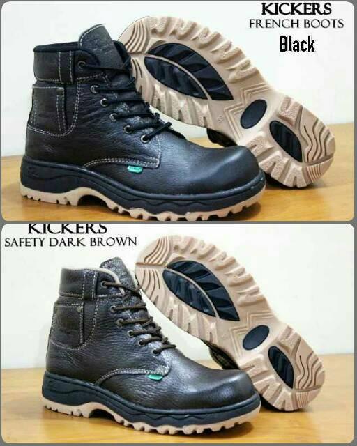 ... harga Sepatu kickers safety boot kulit asli ujung besi coklat dan hitam  Tokopedia.com 5a3d913346