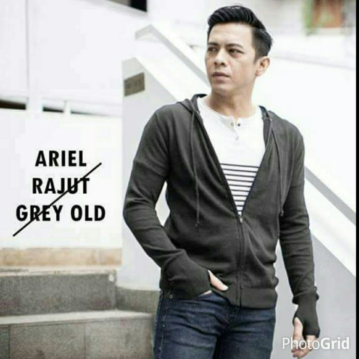 Jaket Sweater Rajut Ariel Noah Abu tua Greenlight