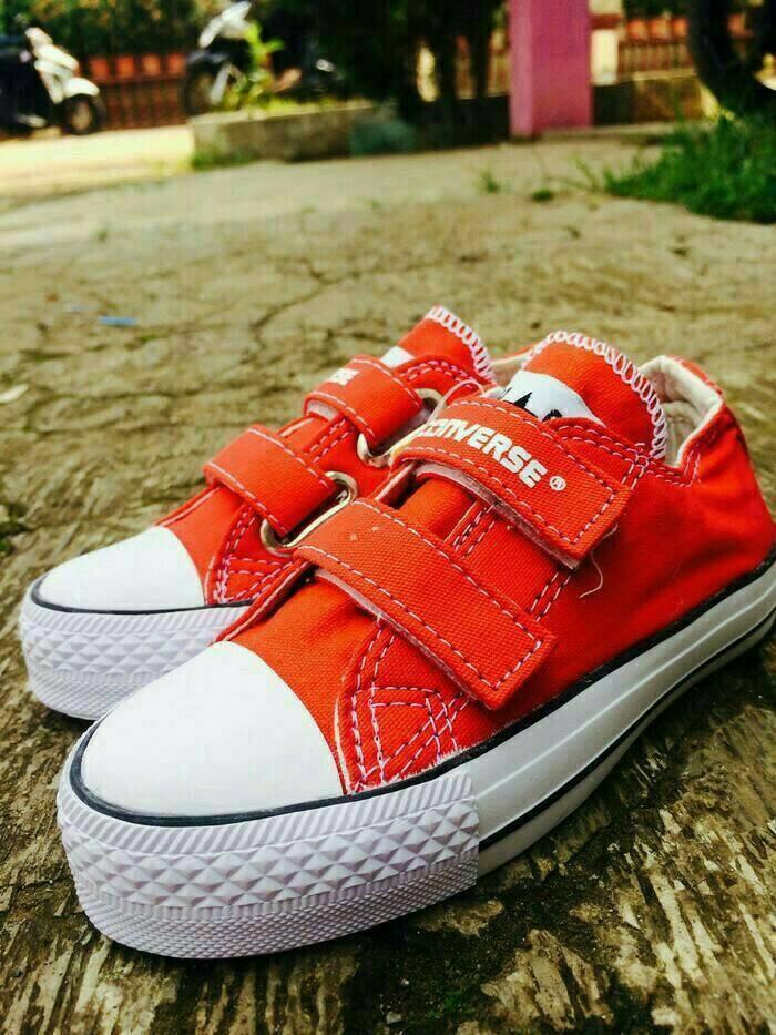 Jual Sepatu Converse Allstar Kids Merah Tanpa Tali Box Kota