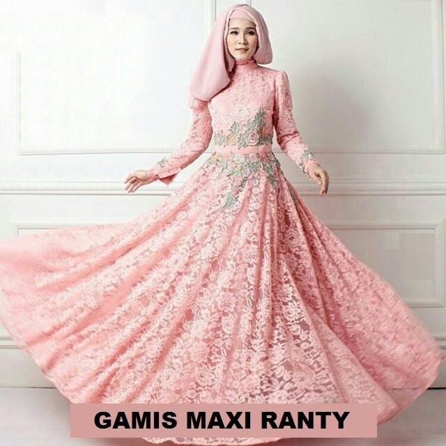 harga Gamis maxi (m - fit l) ranty peach + pashmina - brokat furing Tokopedia.com