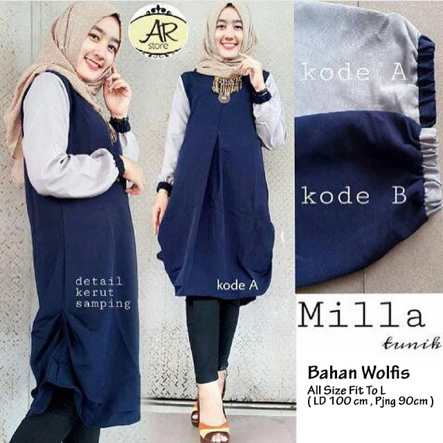 Jual Atasan Blouse Wanita Baju Muslim Blus Muslim Milla Tunik - Navy ... 48ea83375e