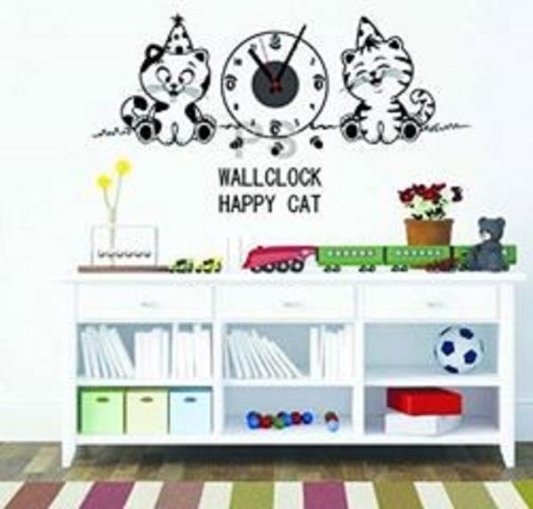 jual wall sticker jam dinding unik gambar kucing happy - gamingstore