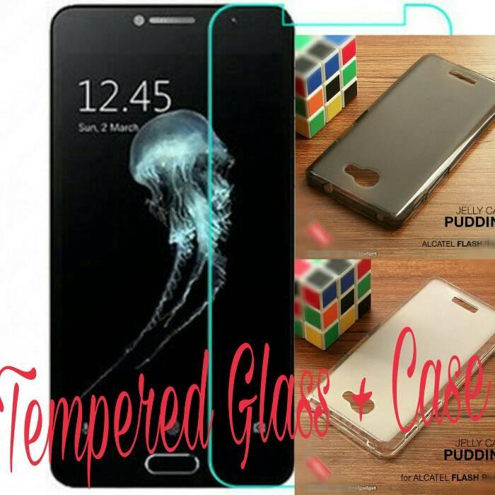 harga [paket] screen guard tempered glass & softcase alcatel flash plus 2 Tokopedia.com